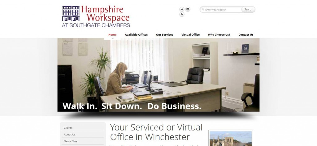 Hampshire Workspace website designed by The Lewis Experience