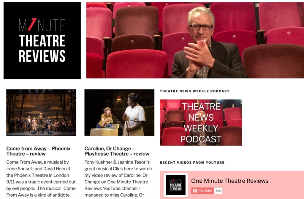 Screen shot of one Minute Theatre Reviews website home page