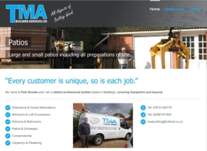 Screen shot of TMA Building Services website home page